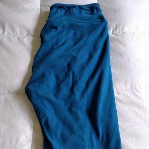 Euc LuLaRoe solid blue os stretchy leggings